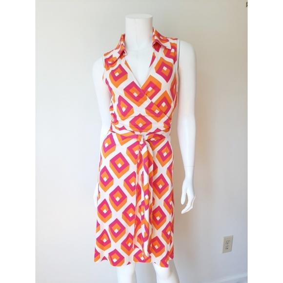 Diane Von Furstenberg Dresses & Skirts - Diane Von Furstenberg Silk Orange Pink Wrap Dress